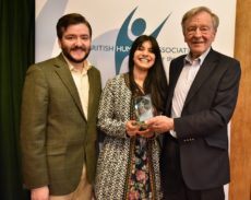 Humanist of the Year Alf Dubs (right) pictured with BHA Chief Executive Andrew Copson and Director of Public Affairs and Policy Pavan Dhaliwal.
