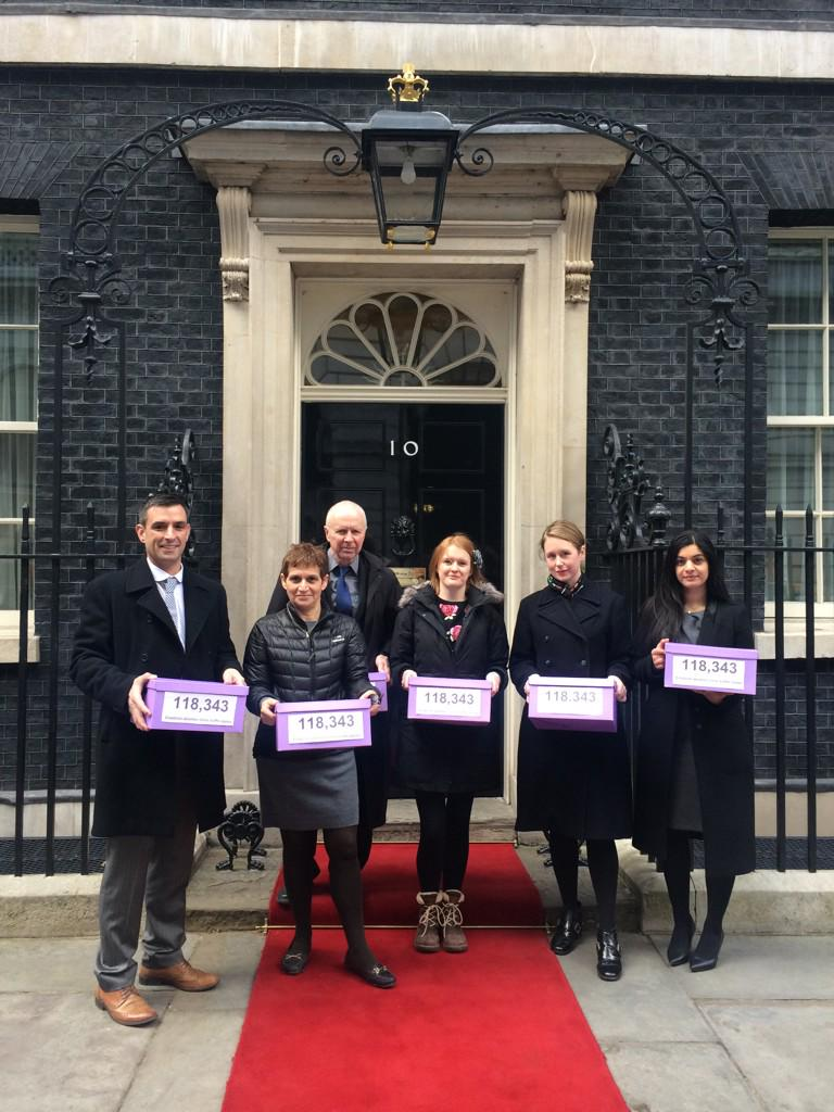 Assembled campaigners, including the BHA's Pavan Dhaliwal (rightmost) outside Number 10 today